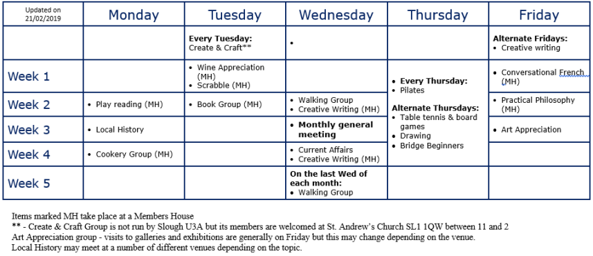 Monthly Timetable 2019a