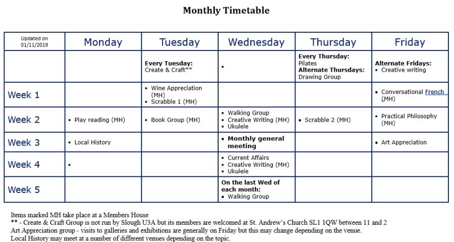 Monthly Timetable 2019b